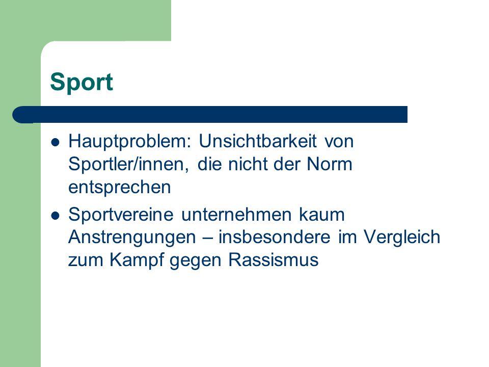Sport Hauptproblem: Unsichtbarkeit von Sportler/innen, die nicht der Norm entsprechen Sportvereine unternehmen kaum Anstrengungen – insbesondere im Ve