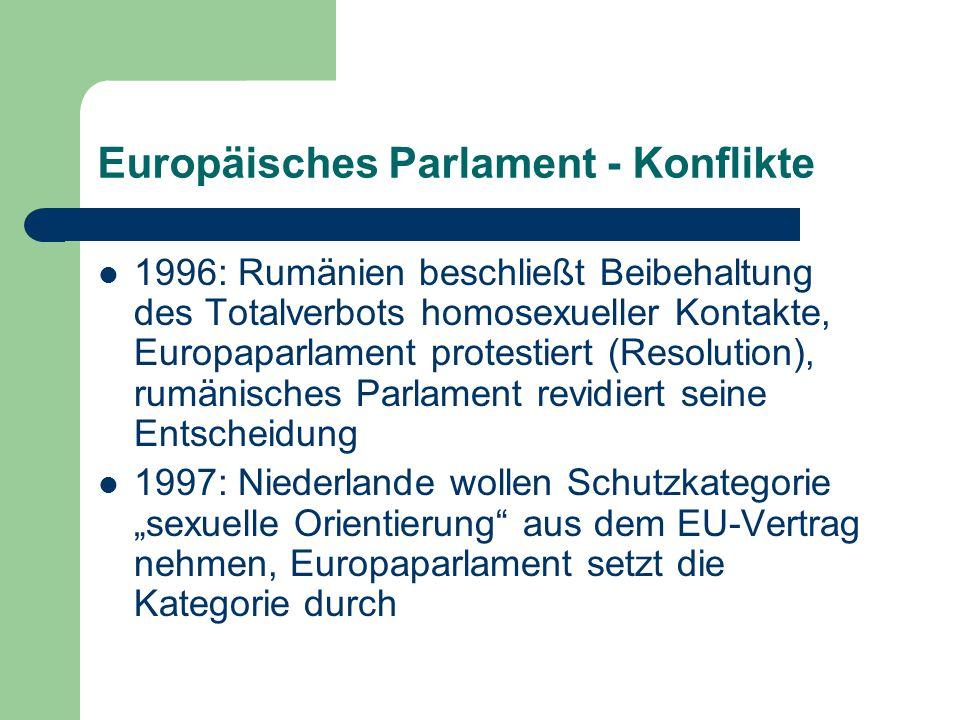 Europäisches Parlament Artikel 2, 3 und 4 der Entschließung zur Gleichberechtigung von Schwulen und Lesben in der Europäischen Union (1998) Das Europäische Parlament… …fordert alle beitrittswilligen Länder auf, alle Gesetze aufzuheben, die die Menschenrechte von Lesben und Schwulen verletzen, insbesondere diskriminierende Bestimmungen über das Mündigkeitsalter; …fordert die Kommmission auf, die Achtung der Menschenrechte von Schwulen und Lesben bei den Verhandlungen mit den beitrittswilligen Ländern zu berücksichtigen; …fordert die Kommission auf, bei ihrer bis Ende des Jahres vorzunehmenden Prüfung der Beitrittsgesuche der mittel- und osteuropäischen Länder die Menschenrechtslage von Schwulen und Lesben in diesen Ländern besonders sorgfältig zu prüfen;