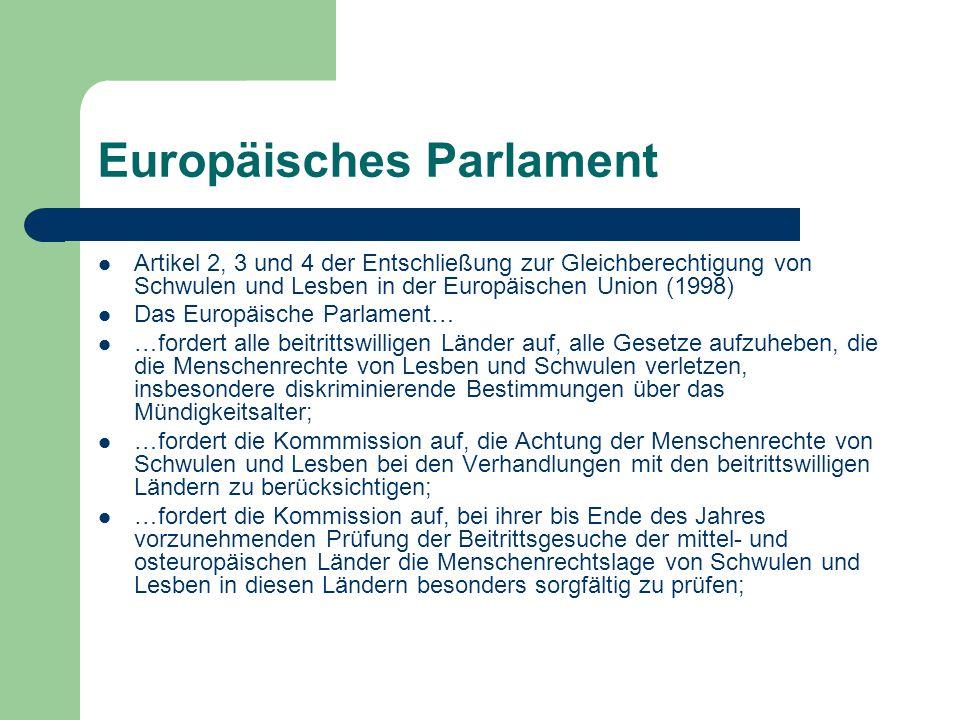 Europäische Kommission 1991: Kommissionsmitglied für soziale Angelegenheiten richtet Abteilung für Kontakt zu Homosexuellenorganisationen ein Folgejahre: verschiedene Studien über Homosexuelle in der EU werden in Auftrag gegeben