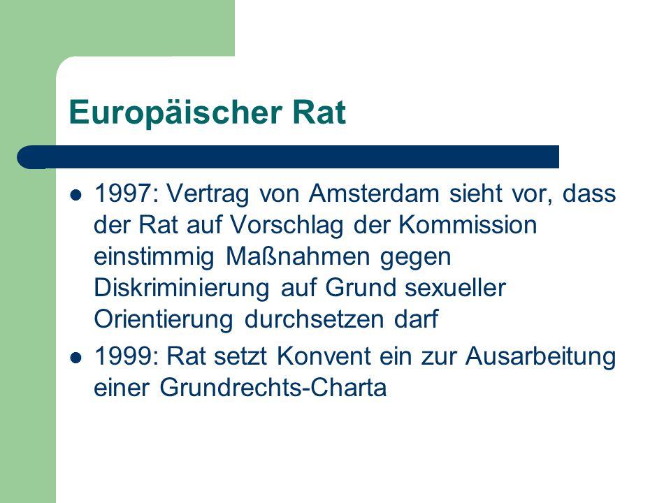 Rechtliche Grundlagen Artikel 13 des EG-Vertrags (seit 1999) (1) Unbeschadet der sonstigen Bestimmungen dieses Vertrags kann der Rat im Rahmen der durch den Vertrag auf die Gemeinschaft übertragenen Zuständigkeiten auf Vorschlag der Kommission und nach Anhörung des Europäischen Parlaments einstimmig geeignete Vorkehrungen treffen, um Diskriminierungen aus Gründen des Geschlechts, der Rasse, der ethnischen Herkunft, der Religion oder der Weltanschauung, einer Behinderung, des Alters oder der sexuellen Ausrichtung zu bekämpfen.