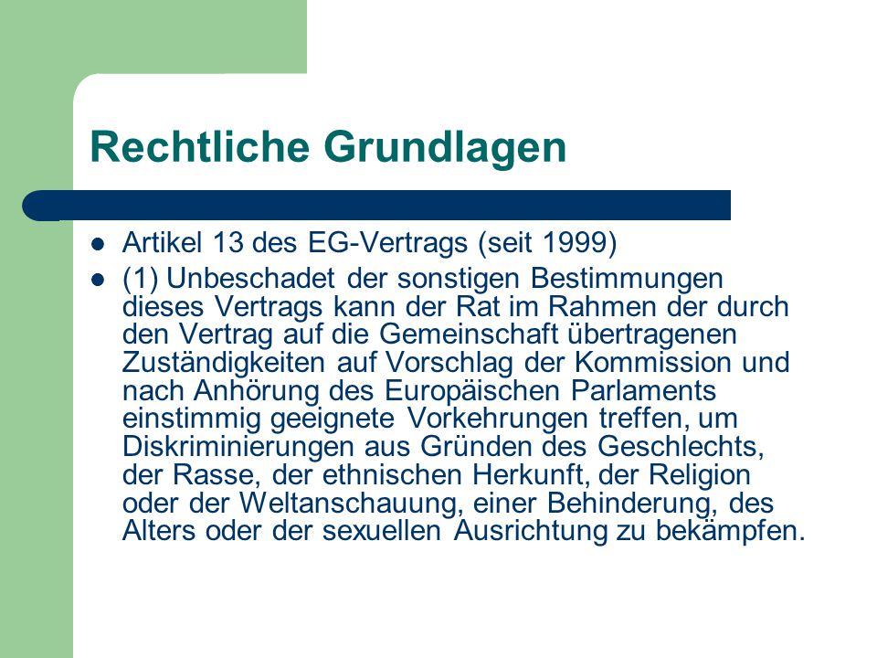 Rechtliche Grundlagen Artikel 13 des EG-Vertrags (seit 1999) (1) Unbeschadet der sonstigen Bestimmungen dieses Vertrags kann der Rat im Rahmen der dur