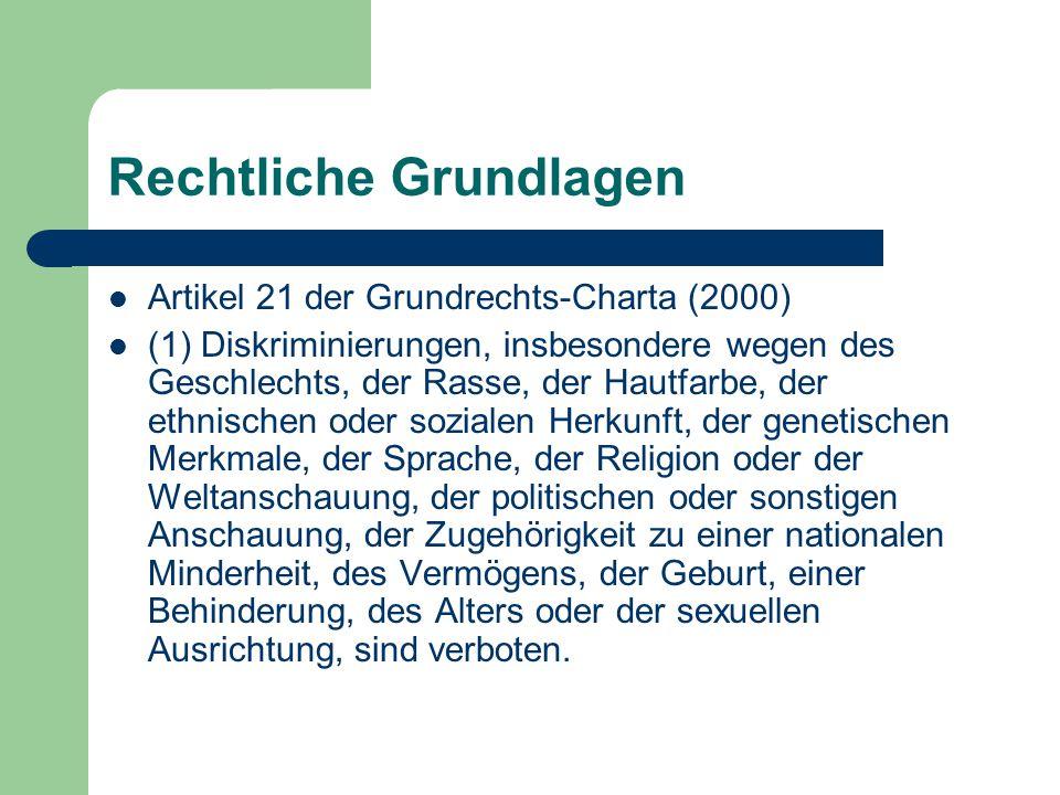 Rechtliche Grundlagen Artikel 1 der Richtlinie des Europäischen Rates zur Festlegung eines allgemeinen Rahmens für die Verwirklichung der Gleichbehandlung in Beschäftigung und Beruf (2000) Zweck dieser Richtlinie ist die Schaffung eines allgemeinen Rahmens zur Bekämpfung der Diskriminierung wegen der Religion oder der Weltanschauung, einer Behinderung, des Alters oder der sexuellen Ausrichtung in Beschäftigung und Beruf im Hinblick auf die Verwirklichung des Grundsatzes der Gleichbehandlung in den Mitgliedstaaten.