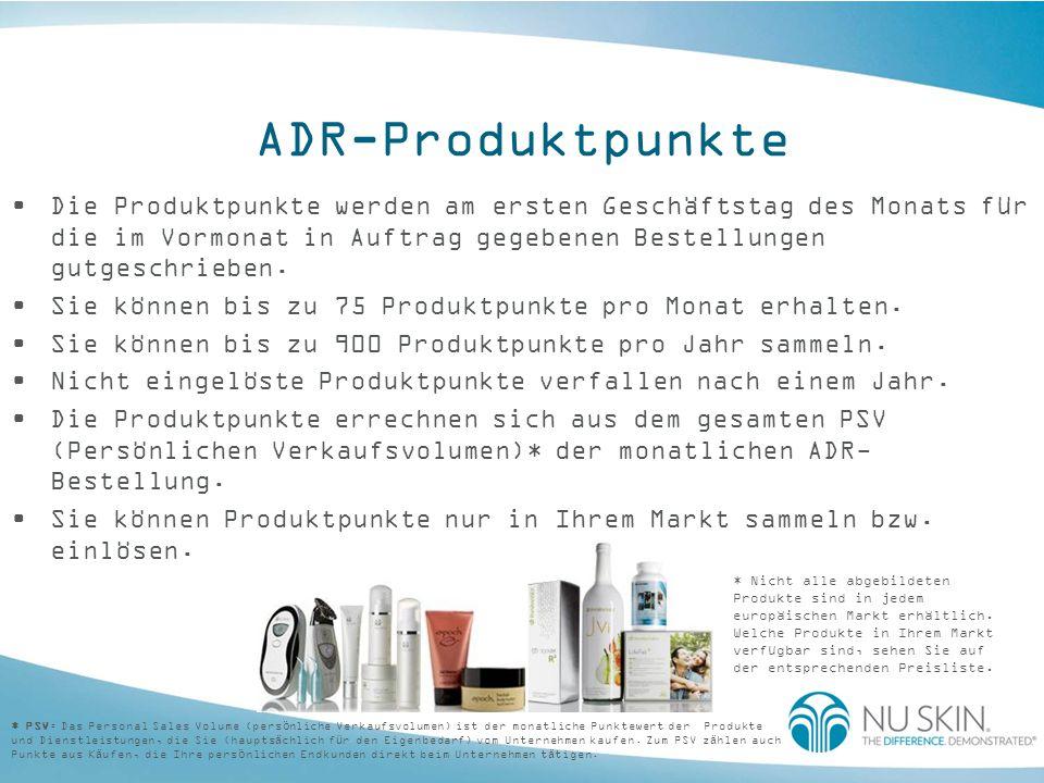 ADR-Produktpunkte Vertriebspartner und Kunden können ihre Produktpunkte wie folgt einlösen: im Internet per Fax/Post im Concept Store Einlösen von Produktpunkten für Gratisprodukte: Die Produkte müssen vollständig mit diesen Produktpunkten bezahlt werden.