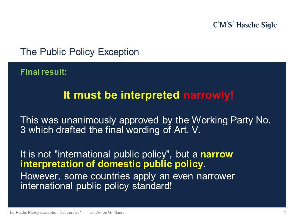 Narrow Interpretation Report by Mr.de Sydow for Working Party No.