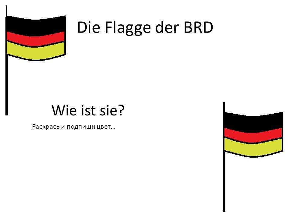 Die Flagge der BRD Wie ist sie? Раскрась и подпиши цвет…