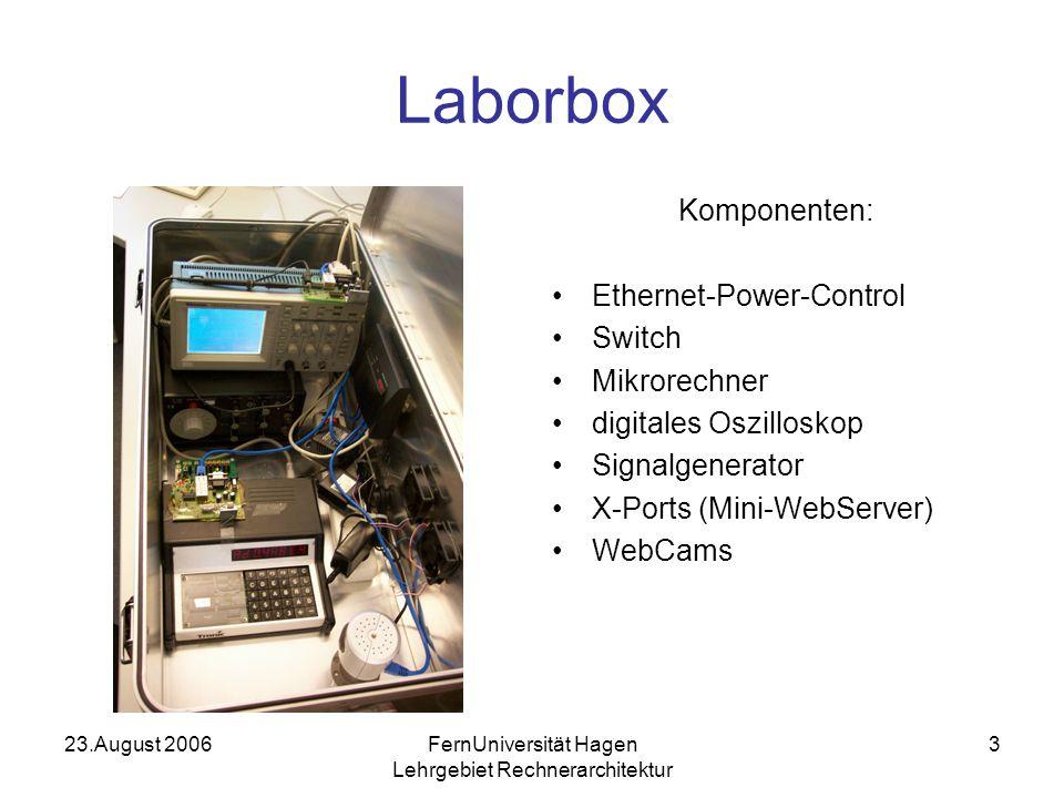 23.August 2006FernUniversität Hagen Lehrgebiet Rechnerarchitektur 3 Laborbox Komponenten: Ethernet-Power-Control Switch Mikrorechner digitales Oszilloskop Signalgenerator X-Ports (Mini-WebServer) WebCams