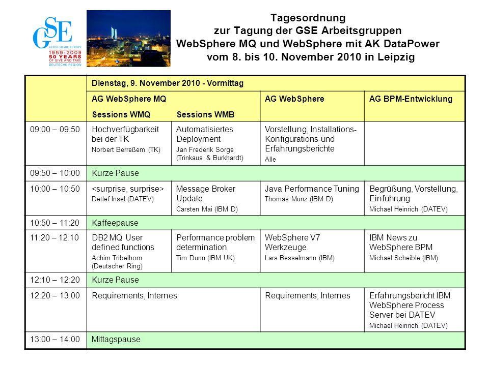 3 Dienstag, 9. November 2010 - Vormittag AG WebSphere MQAG WebSphereAG BPM-Entwicklung Sessions WMQSessions WMB 09:00 – 09:50Hochverfügbarkeit bei der