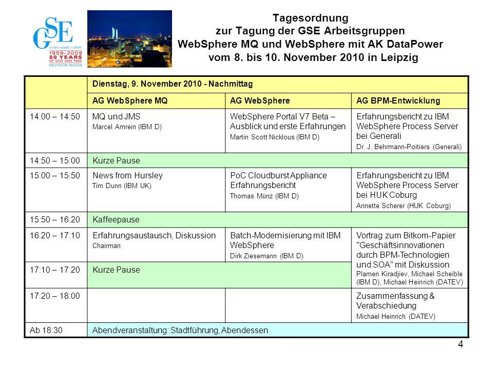 4 Dienstag, 9. November 2010 - Nachmittag AG WebSphere MQAG WebSphereAG BPM-Entwicklung 14:00 – 14:50MQ und JMS Marcel Amrein (IBM D) WebSphere Portal