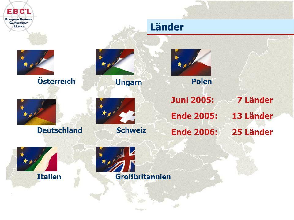 Länder Deutschland Österreich Schweiz Ungarn Polen GroßbritannienItalien Juni 2005: 7 Länder Ende 2005: 13 Länder Ende 2006: 25 Länder