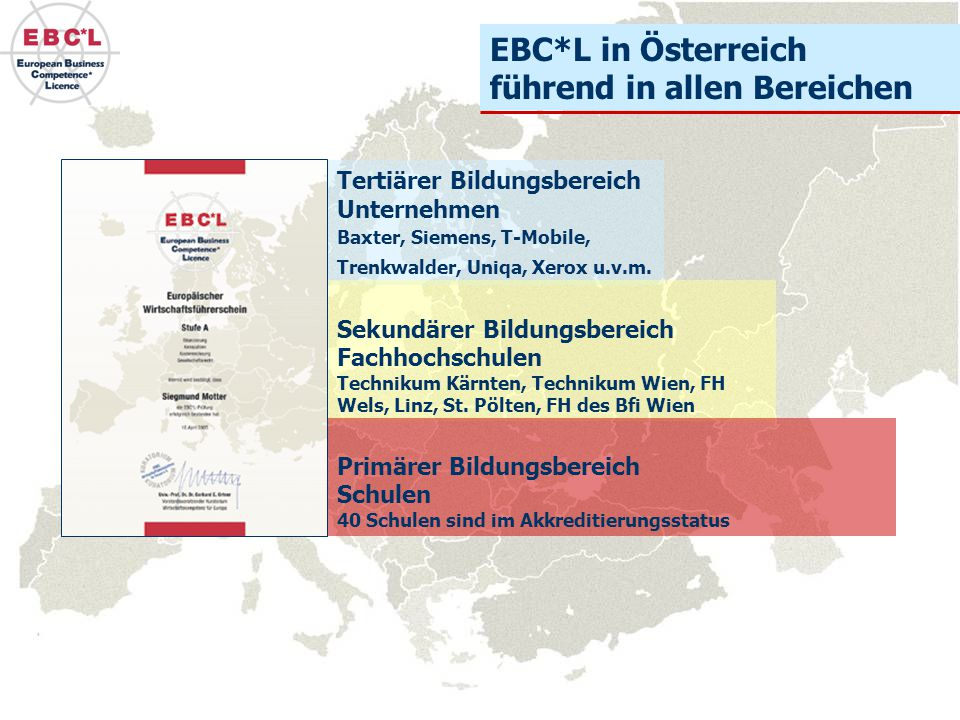Tertiärer Bildungsbereich Unternehmen Baxter, Siemens, T-Mobile, Trenkwalder, Uniqa, Xerox u.v.m. EBC*L in Österreich führend in allen Bereichen Sekun