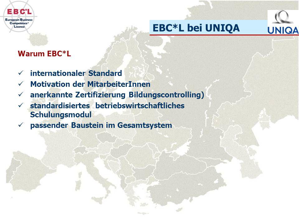 EBC*L bei UNIQA Warum EBC*L internationaler Standard Motivation der MitarbeiterInnen anerkannte Zertifizierung Bildungscontrolling) standardisiertes b