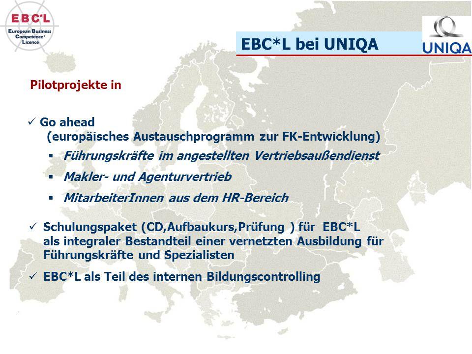 EBC*L bei UNIQA Go ahead (europäisches Austauschprogramm zur FK-Entwicklung) Pilotprojekte in  Führungskräfte im angestellten Vertriebsaußendienst 