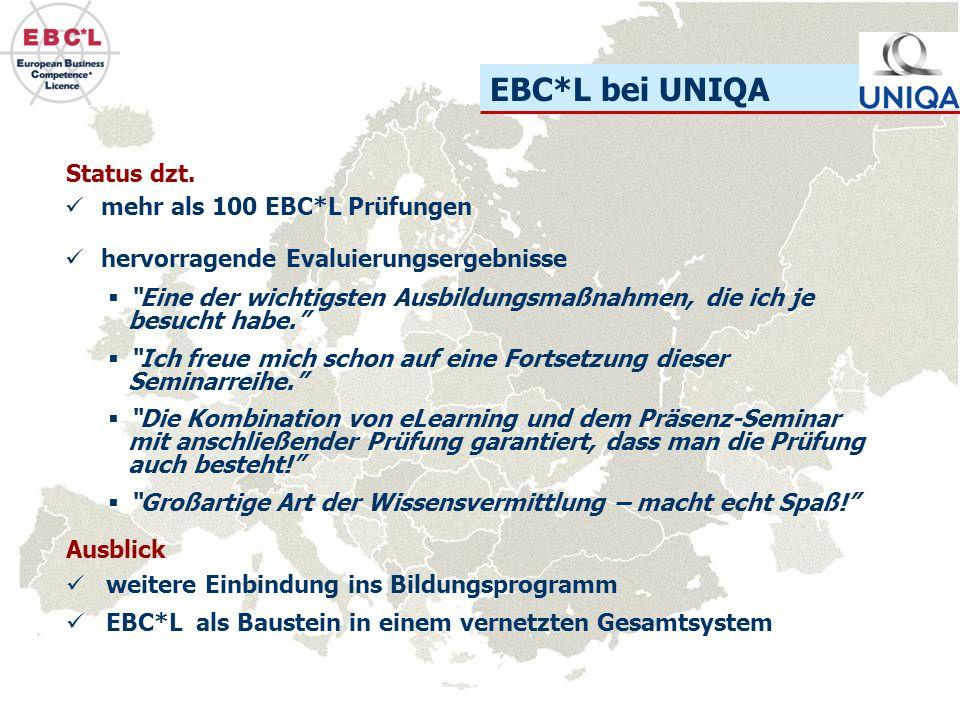 EBC*L bei UNIQA mehr als 100 EBC*L Prüfungen hervorragende Evaluierungsergebnisse Status dzt. weitere Einbindung ins Bildungsprogramm EBC*L als Bauste