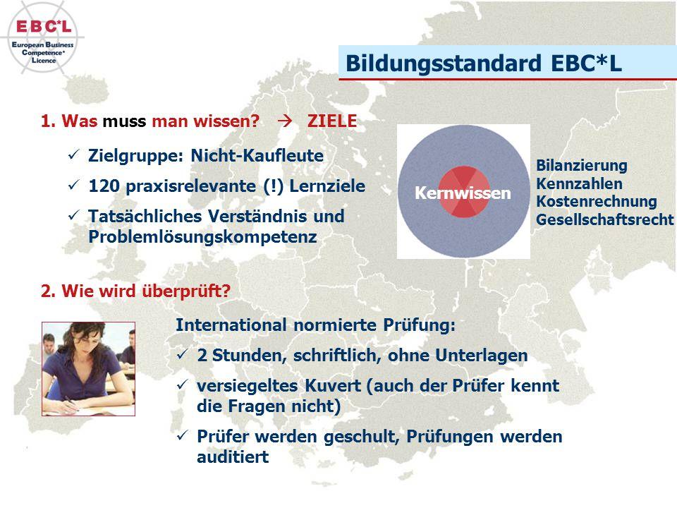 Bildungsstandard EBC*L 1. Was muss man wissen?  ZIELE International normierte Prüfung: 2 Stunden, schriftlich, ohne Unterlagen versiegeltes Kuvert (a