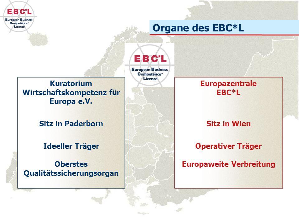 Organe des EBC*L Kuratorium Wirtschaftskompetenz für Europa e.V. Sitz in Paderborn Ideeller Träger Oberstes Qualitätssicherungsorgan Europazentrale EB