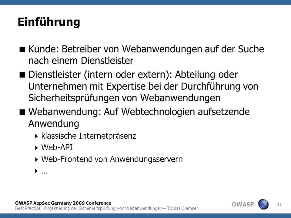 OWASP OWASP AppSec Germany 2009 Conference Best Practice: Projektierung der Sicherheitsprüfung von Webanwendungen – Tobias Glemser 11 Einführung  Kun