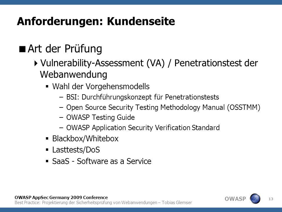 OWASP OWASP AppSec Germany 2009 Conference Best Practice: Projektierung der Sicherheitsprüfung von Webanwendungen – Tobias Glemser 13 Anforderungen: K