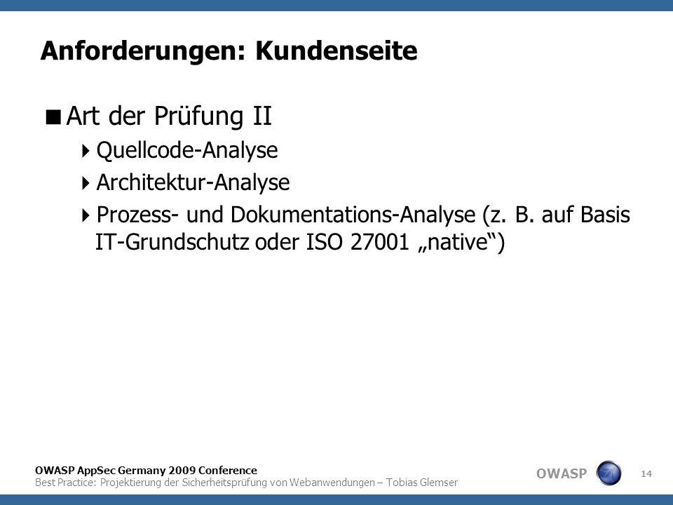 OWASP OWASP AppSec Germany 2009 Conference Best Practice: Projektierung der Sicherheitsprüfung von Webanwendungen – Tobias Glemser 14 Anforderungen: K