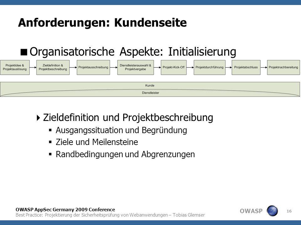 OWASP OWASP AppSec Germany 2009 Conference Best Practice: Projektierung der Sicherheitsprüfung von Webanwendungen – Tobias Glemser 16 Anforderungen: K