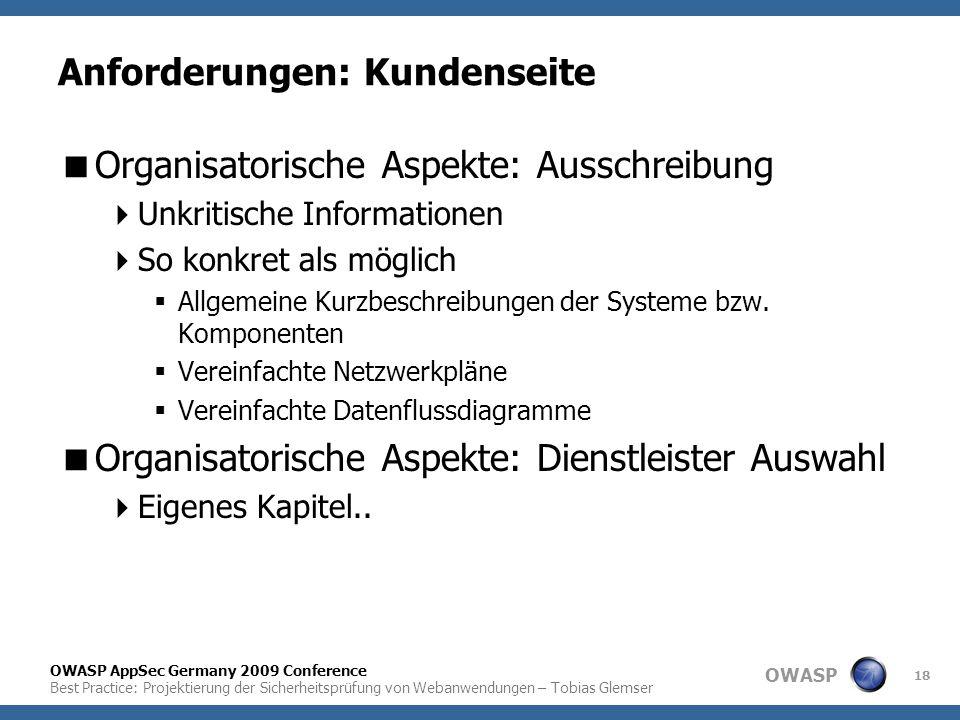 OWASP OWASP AppSec Germany 2009 Conference Best Practice: Projektierung der Sicherheitsprüfung von Webanwendungen – Tobias Glemser 18 Anforderungen: K