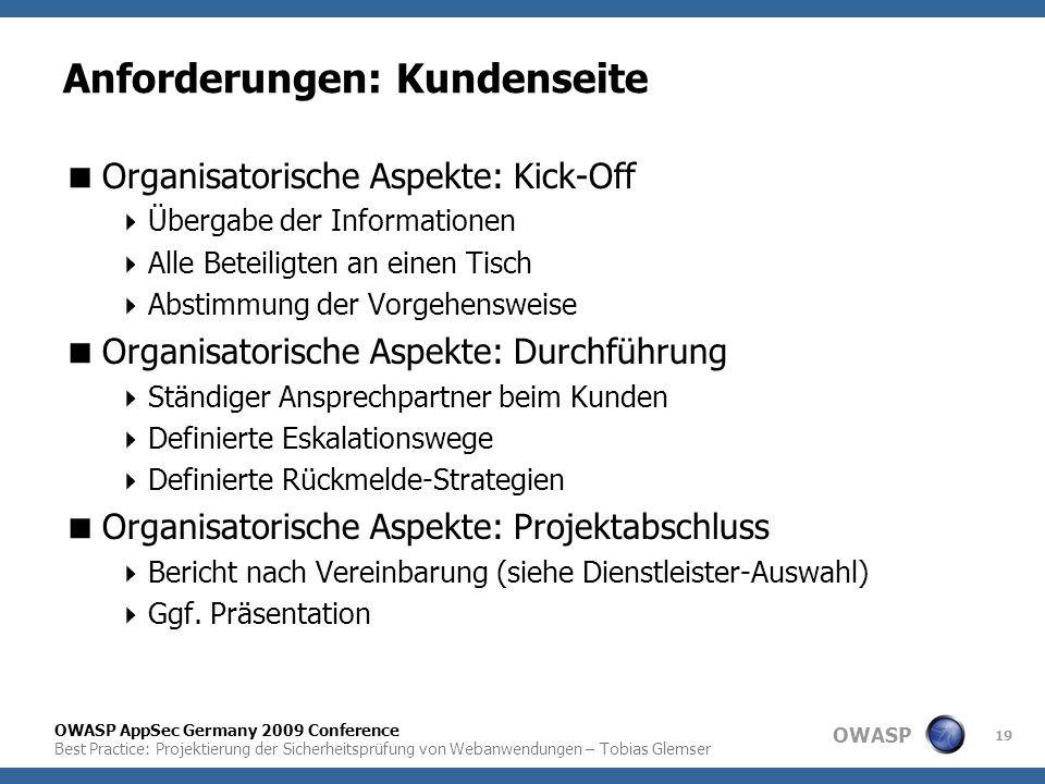 OWASP OWASP AppSec Germany 2009 Conference Best Practice: Projektierung der Sicherheitsprüfung von Webanwendungen – Tobias Glemser 19 Anforderungen: K