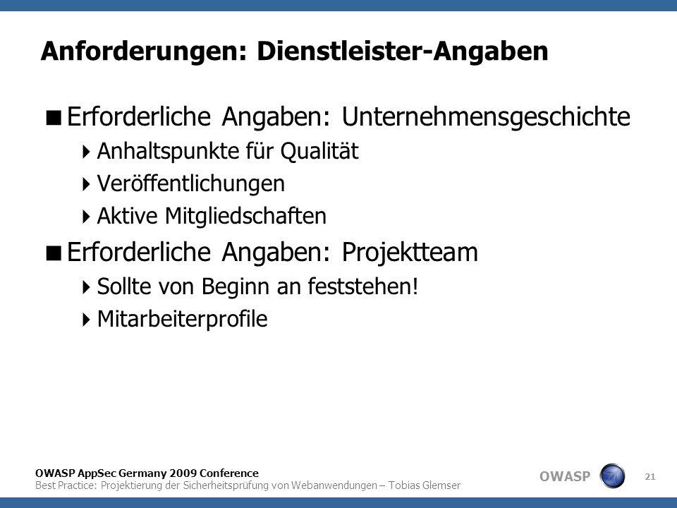 OWASP OWASP AppSec Germany 2009 Conference Best Practice: Projektierung der Sicherheitsprüfung von Webanwendungen – Tobias Glemser 21 Anforderungen: D