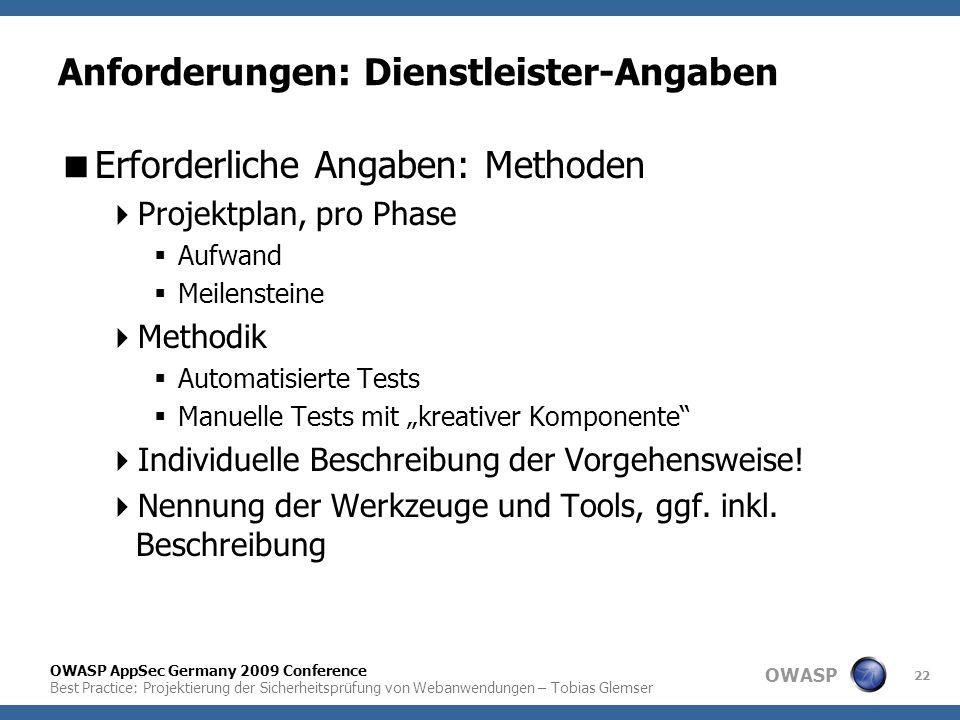 OWASP OWASP AppSec Germany 2009 Conference Best Practice: Projektierung der Sicherheitsprüfung von Webanwendungen – Tobias Glemser 22 Anforderungen: D