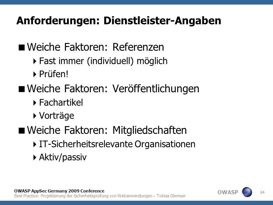 OWASP OWASP AppSec Germany 2009 Conference Best Practice: Projektierung der Sicherheitsprüfung von Webanwendungen – Tobias Glemser 24 Anforderungen: D