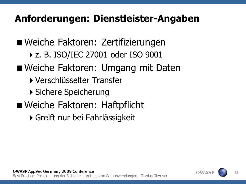 OWASP OWASP AppSec Germany 2009 Conference Best Practice: Projektierung der Sicherheitsprüfung von Webanwendungen – Tobias Glemser 25 Anforderungen: D