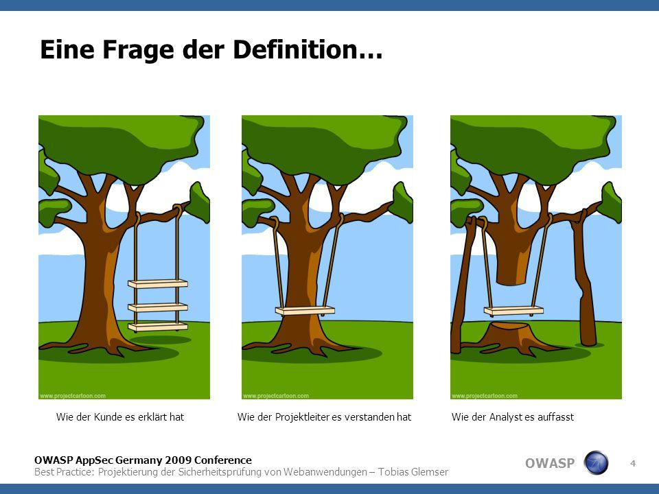 OWASP OWASP AppSec Germany 2009 Conference Best Practice: Projektierung der Sicherheitsprüfung von Webanwendungen – Tobias Glemser 4 Eine Frage der De