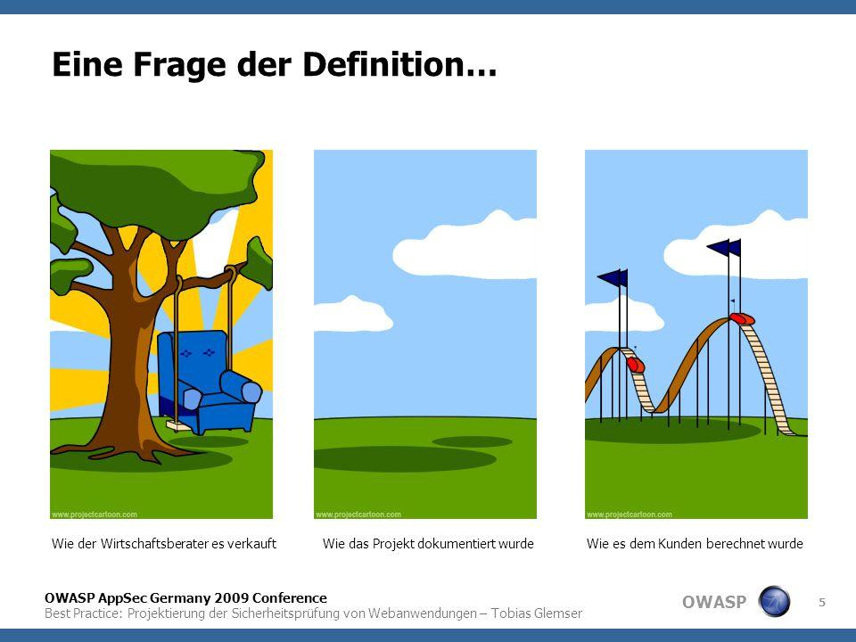 OWASP OWASP AppSec Germany 2009 Conference Best Practice: Projektierung der Sicherheitsprüfung von Webanwendungen – Tobias Glemser 5 Eine Frage der De