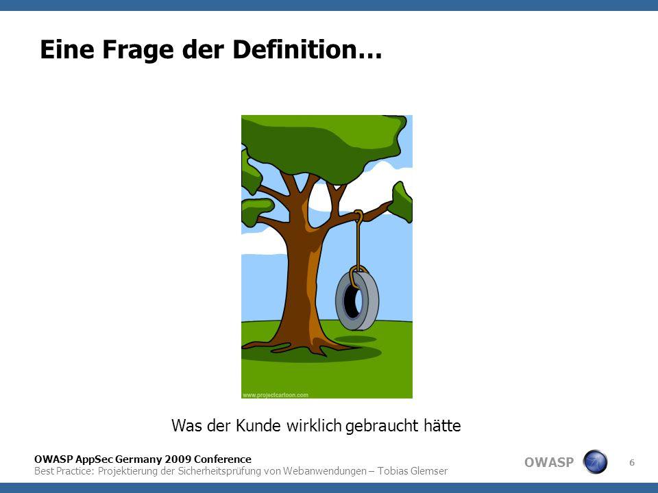 OWASP OWASP AppSec Germany 2009 Conference Best Practice: Projektierung der Sicherheitsprüfung von Webanwendungen – Tobias Glemser 6 Eine Frage der De