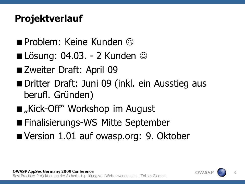OWASP OWASP AppSec Germany 2009 Conference Best Practice: Projektierung der Sicherheitsprüfung von Webanwendungen – Tobias Glemser 9 Projektverlauf 