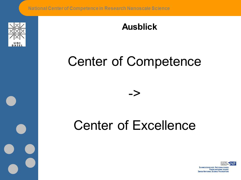 National Center of Competence in Research Nanoscale Science Ausblick Center of Competence -> Center of Excellence