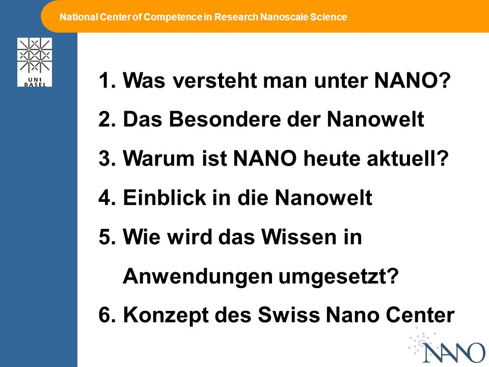 National Center of Competence in Research Nanoscale Science 1.Was versteht man unter NANO.