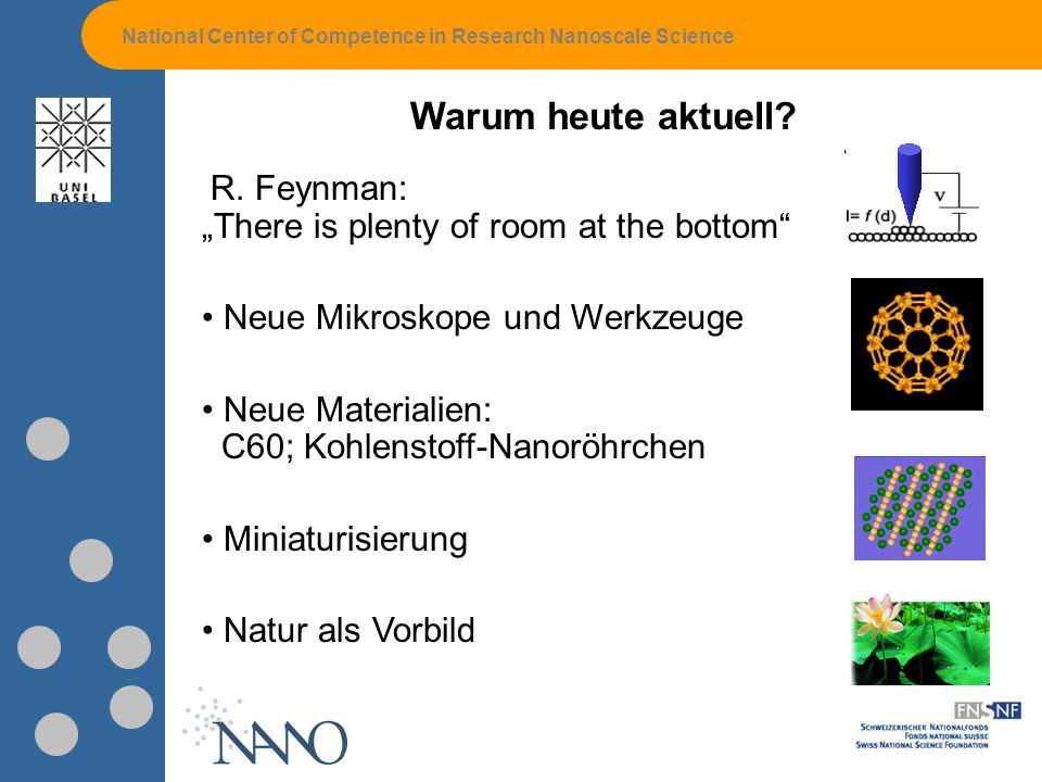 National Center of Competence in Research Nanoscale Science Warum heute aktuell.