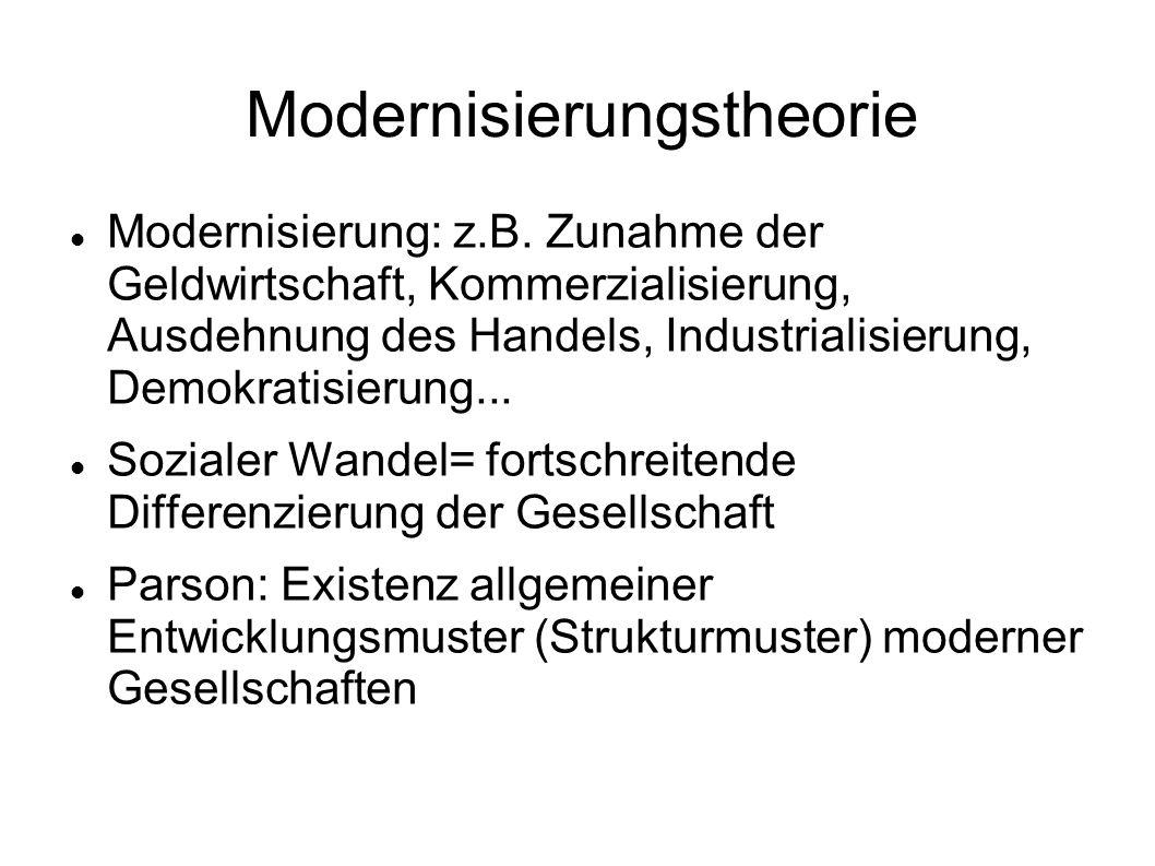 Modernisierungstheorie Modernisierung: z.B. Zunahme der Geldwirtschaft, Kommerzialisierung, Ausdehnung des Handels, Industrialisierung, Demokratisieru