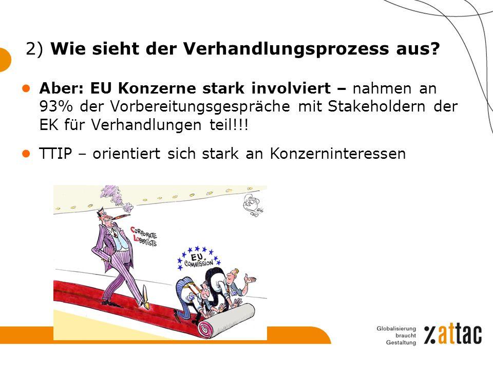 2) Wie sieht der Verhandlungsprozess aus? ● Aber: EU Konzerne stark involviert – nahmen an 93% der Vorbereitungsgespräche mit Stakeholdern der EK für