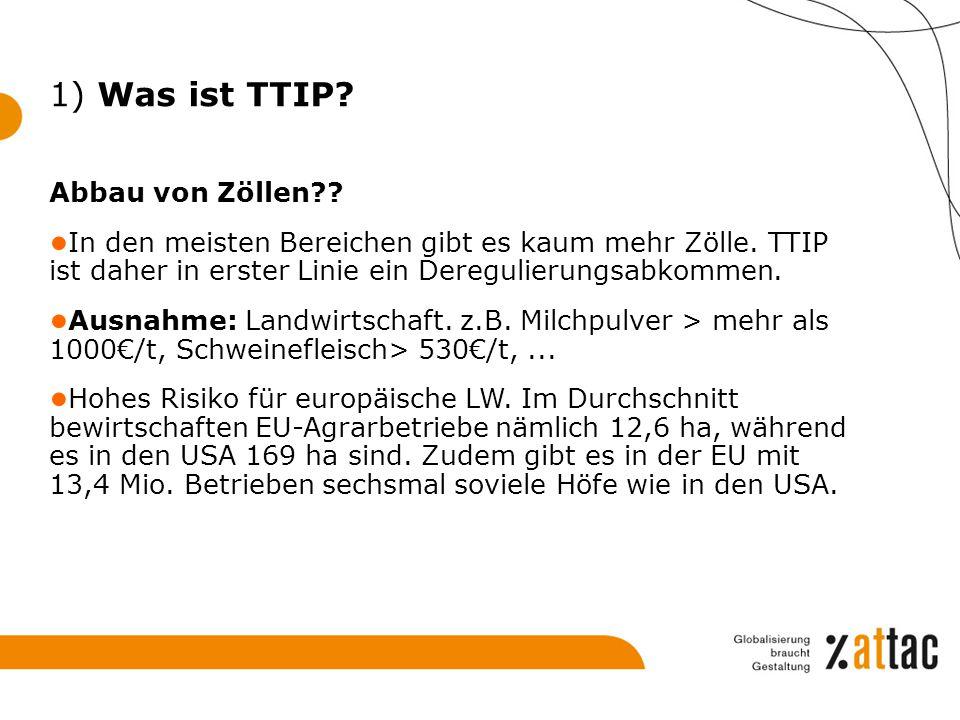 Abbau von Zöllen?? ● In den meisten Bereichen gibt es kaum mehr Zölle. TTIP ist daher in erster Linie ein Deregulierungsabkommen. ● Ausnahme: Landwirt