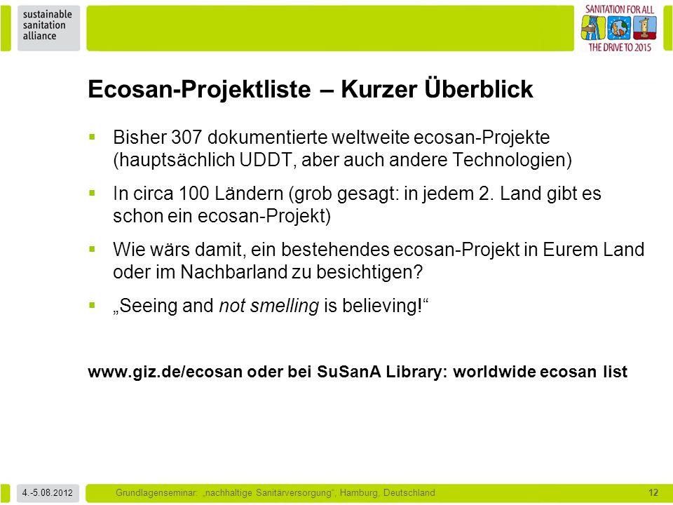 """4.-5.08. 2012 Grundlagenseminar: """"nachhaltige Sanitärversorgung"""", Hamburg, Deutschland12  Bisher 307 dokumentierte weltweite ecosan-Projekte (hauptsä"""