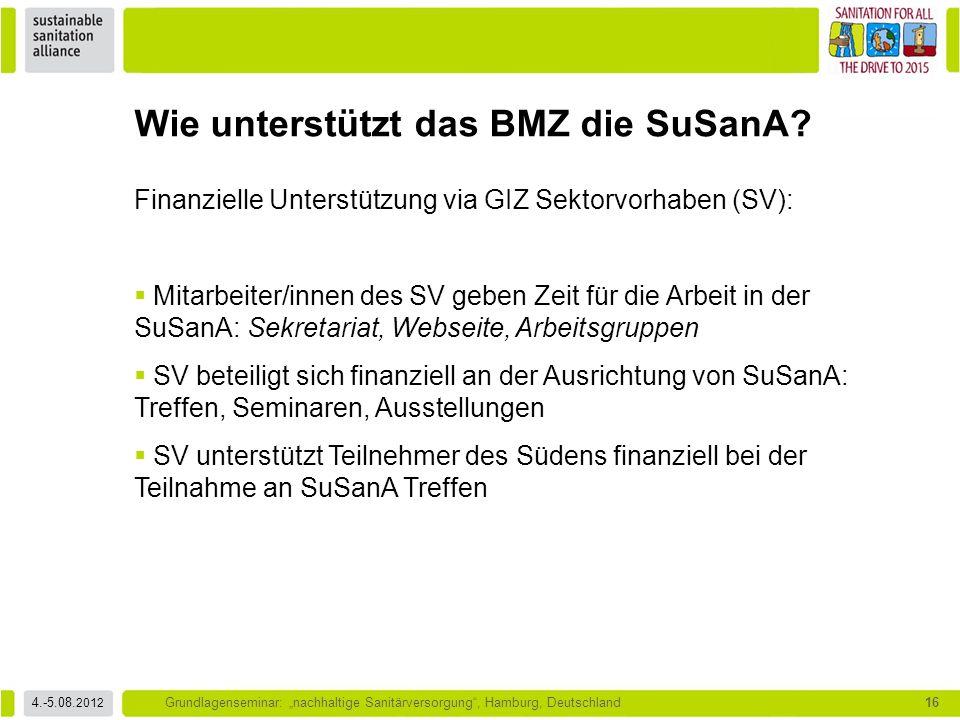 """4.-5.08. 2012 Grundlagenseminar: """"nachhaltige Sanitärversorgung"""", Hamburg, Deutschland16 Wie unterstützt das BMZ die SuSanA? Finanzielle Unterstützung"""