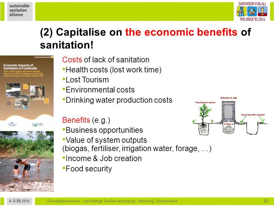 """4.-5.08. 2012 Grundlagenseminar: """"nachhaltige Sanitärversorgung"""", Hamburg, Deutschland23 Costs of lack of sanitation Health costs (lost work time) Los"""
