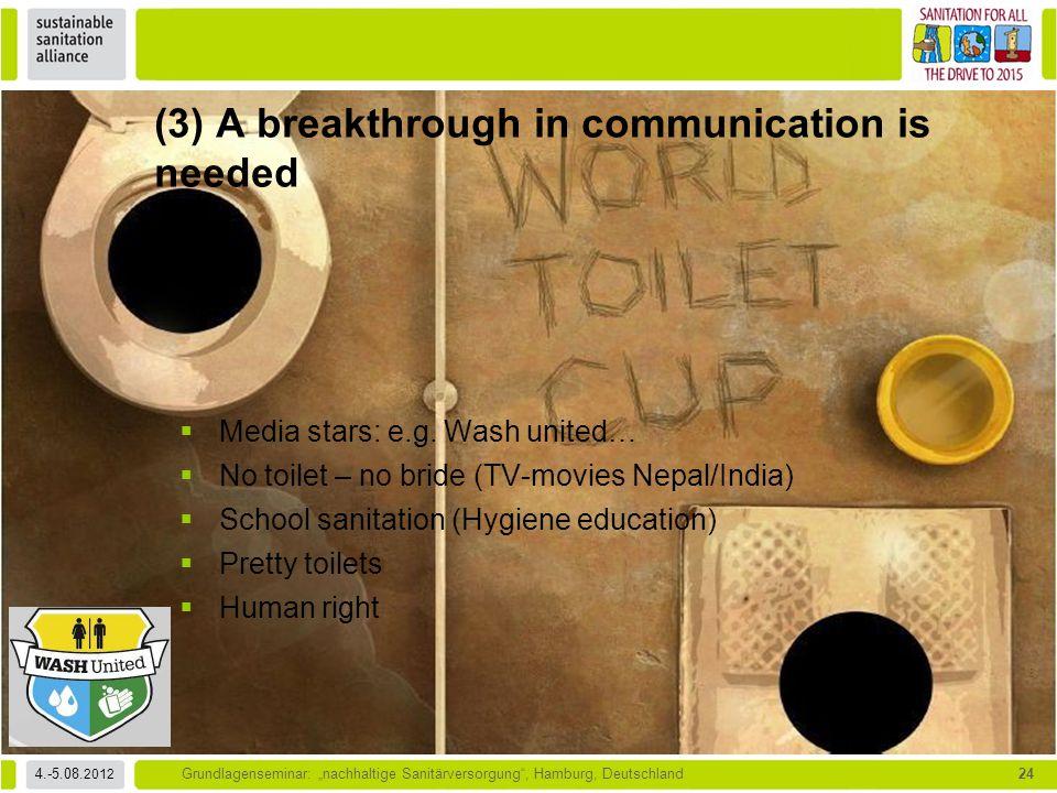 """4.-5.08. 2012 Grundlagenseminar: """"nachhaltige Sanitärversorgung"""", Hamburg, Deutschland24  Media stars: e.g. Wash united…  No toilet – no bride (TV-m"""