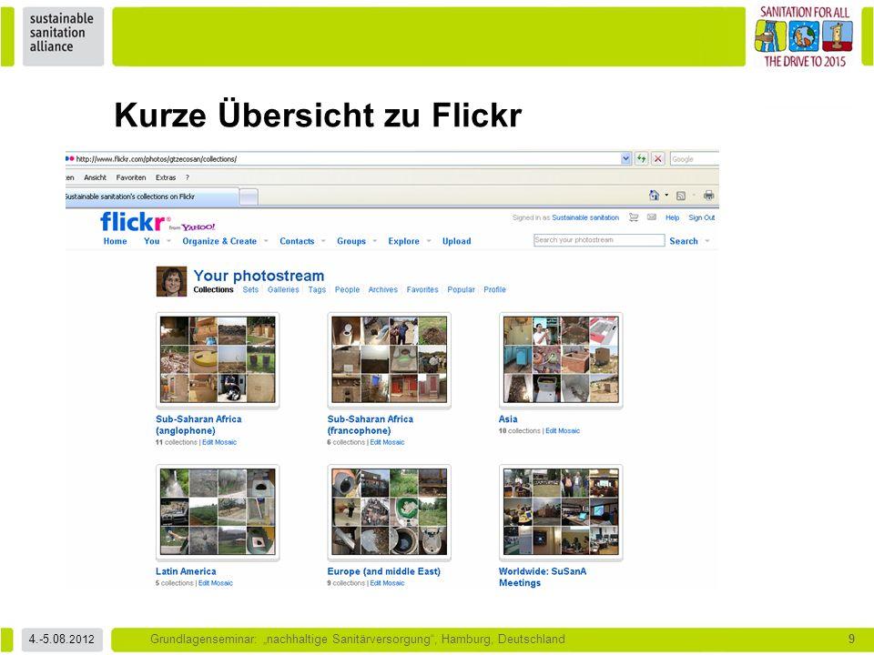 """4.-5.08. 2012 Grundlagenseminar: """"nachhaltige Sanitärversorgung"""", Hamburg, Deutschland9 Kurze Übersicht zu Flickr"""
