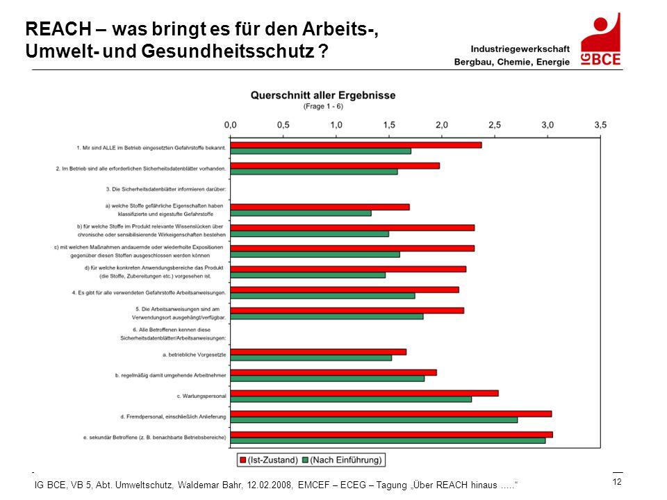 """IG BCE, VB 5, Abt. Umweltschutz, Waldemar Bahr, 12.02.2008, EMCEF – ECEG – Tagung """"Über REACH hinaus....."""" 12 REACH – was bringt es für den Arbeits-,"""