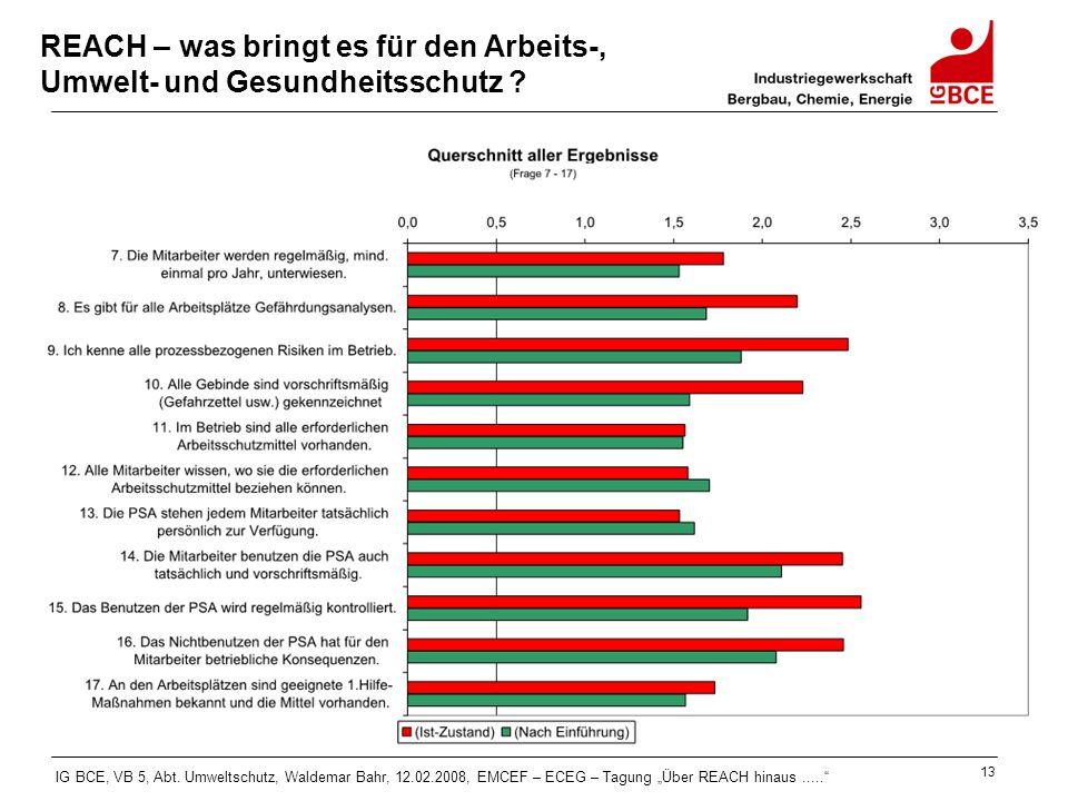 """IG BCE, VB 5, Abt. Umweltschutz, Waldemar Bahr, 12.02.2008, EMCEF – ECEG – Tagung """"Über REACH hinaus....."""" 13 REACH – was bringt es für den Arbeits-,"""