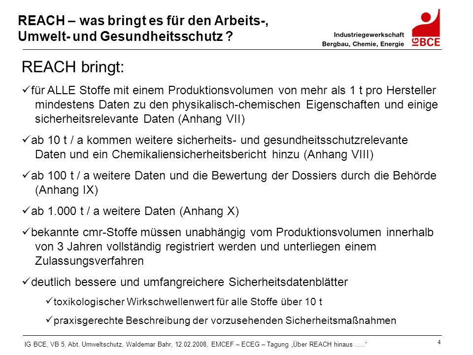 """IG BCE, VB 5, Abt. Umweltschutz, Waldemar Bahr, 12.02.2008, EMCEF – ECEG – Tagung """"Über REACH hinaus....."""" 4 REACH – was bringt es für den Arbeits-, U"""