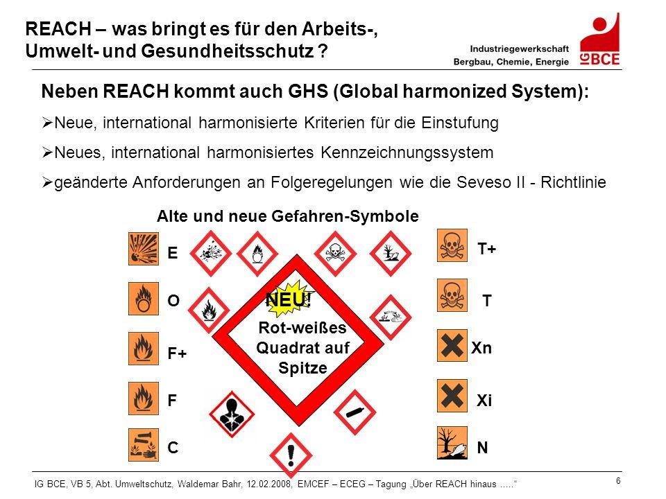 """IG BCE, VB 5, Abt. Umweltschutz, Waldemar Bahr, 12.02.2008, EMCEF – ECEG – Tagung """"Über REACH hinaus....."""" 6 REACH – was bringt es für den Arbeits-, U"""