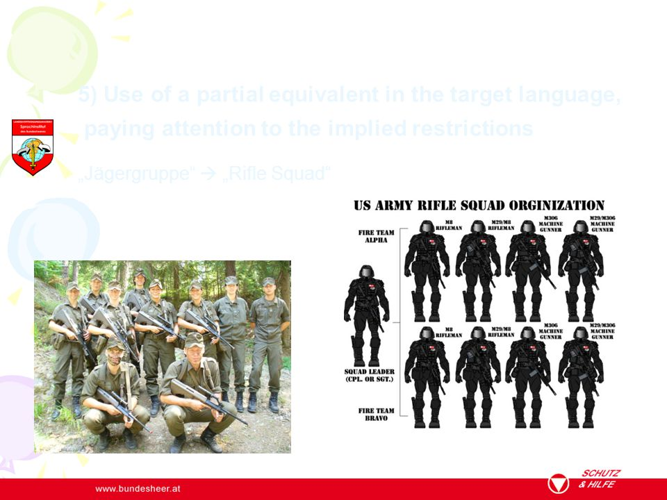 """5) Use of a partial equivalent in the target language, paying attention to the implied restrictions """"Jägergruppe""""  """"Rifle Squad"""""""