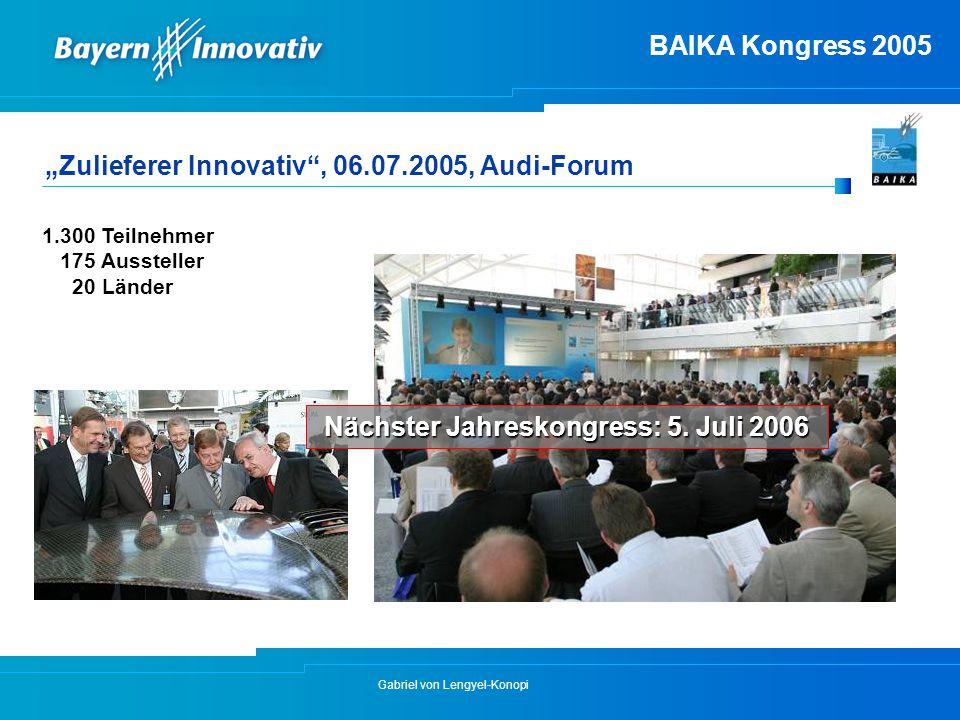 "Gabriel von Lengyel-Konopi BAIKA Kongress 2005 ""Zulieferer Innovativ"", 06.07.2005, Audi-Forum 1.300 Teilnehmer 175 Aussteller 20 Länder Nächster Jahre"